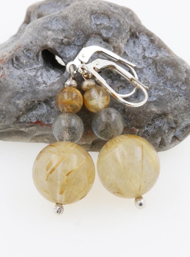 Ohrringe Rutilquarz, Labradorit, Silber