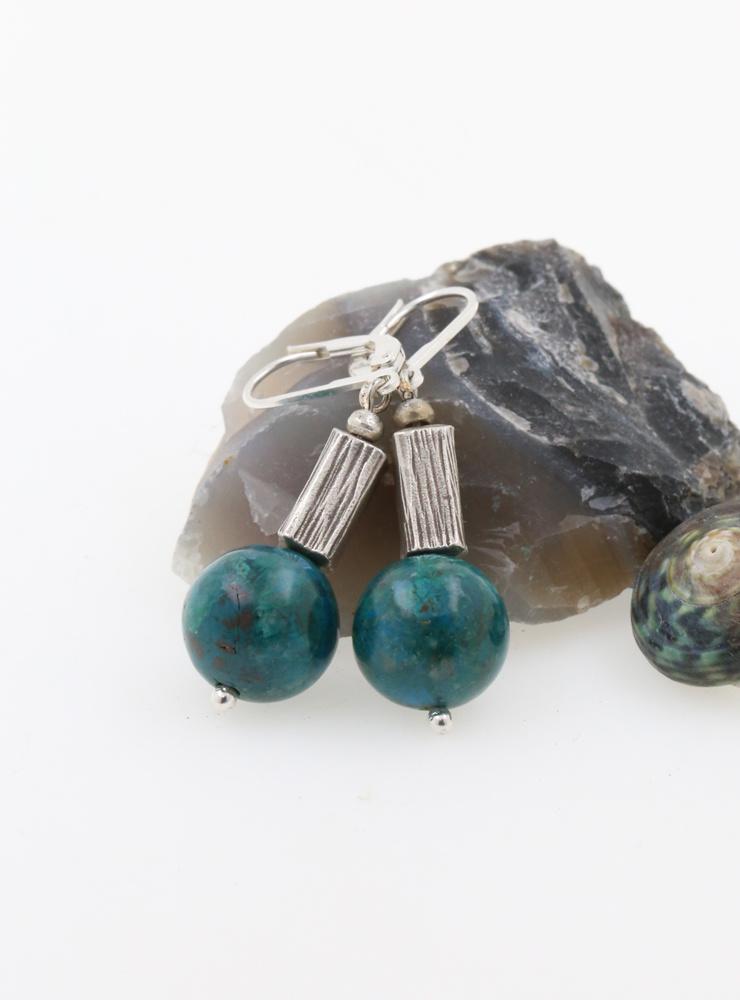 Handgemachte Ohrringe aus Chrysokoll und 925er Silber