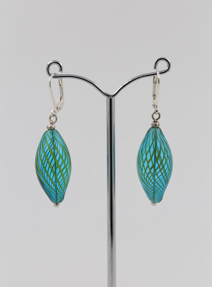 Ohrringe aus mundgeblasenem Glas und Silber
