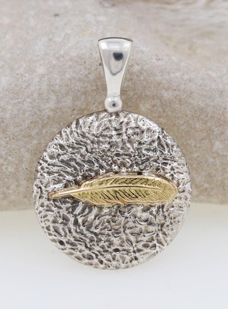 Feder: Anhänger aus 925er Silber und 750er Gold