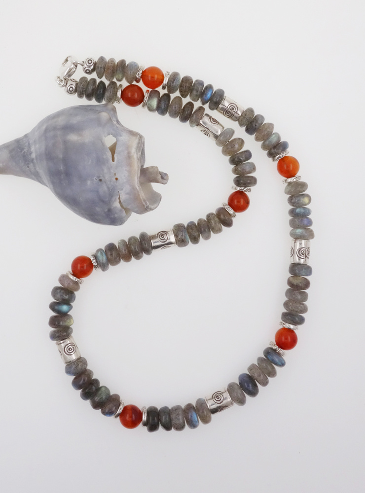 Halskette Labradorit Carneol Silber