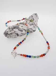 Halskette Silber Farbedelsteine