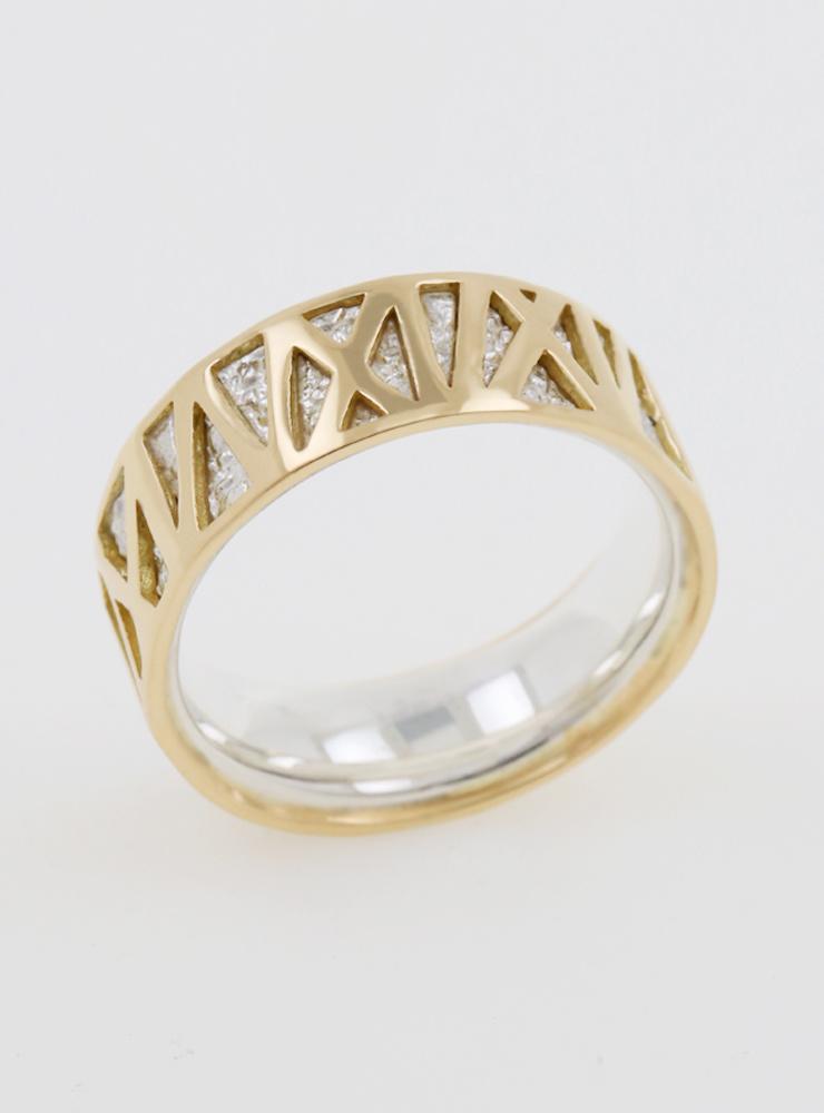 Mikado: Bicolor Ring aus 750er Weißgold und 750er Gelbgold