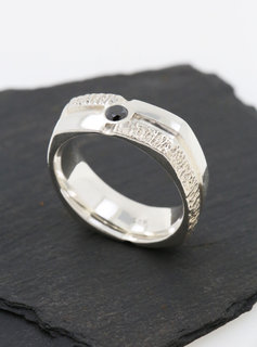 Ehering Square Dance Silber, schwarzer Diamant