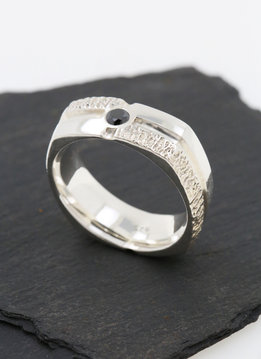 Ring Square Dance Silber, schwarzer Diamant