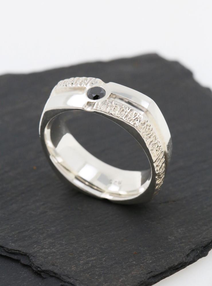Ring Square Dance Silber, schwarzer Diamant