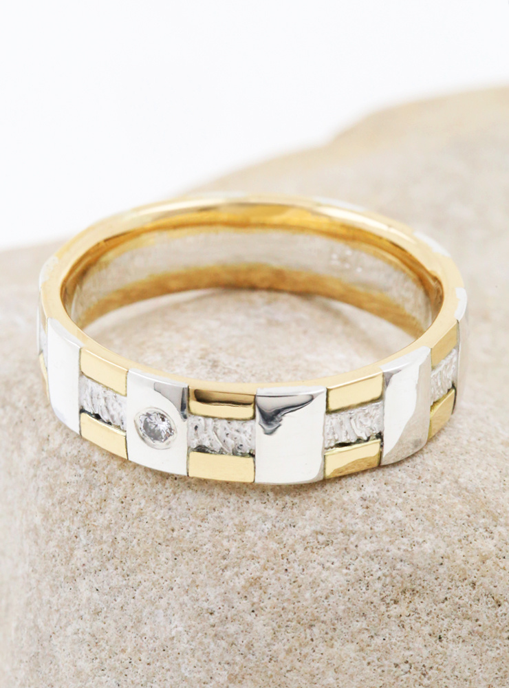 Tatami: Ehering mit Diamant aus 750er Gelbgold und 750er Weißgold