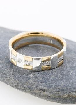 Ehering Tatami Gelbgold Weißgold Diamant