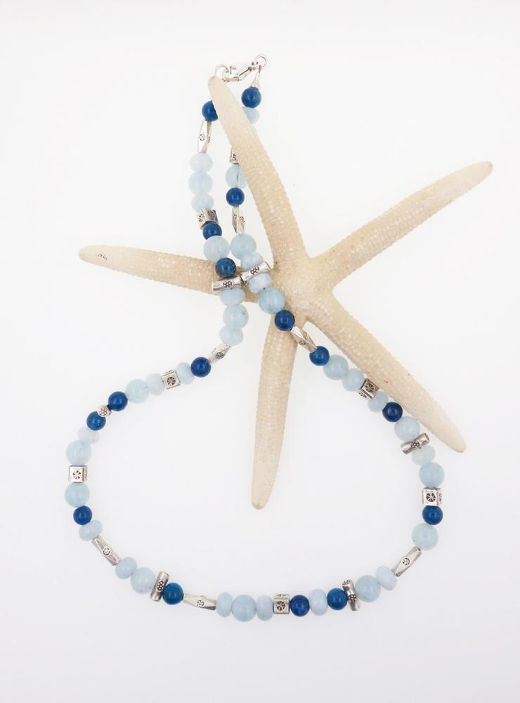 Halskette Aquamarin Apatit Silber