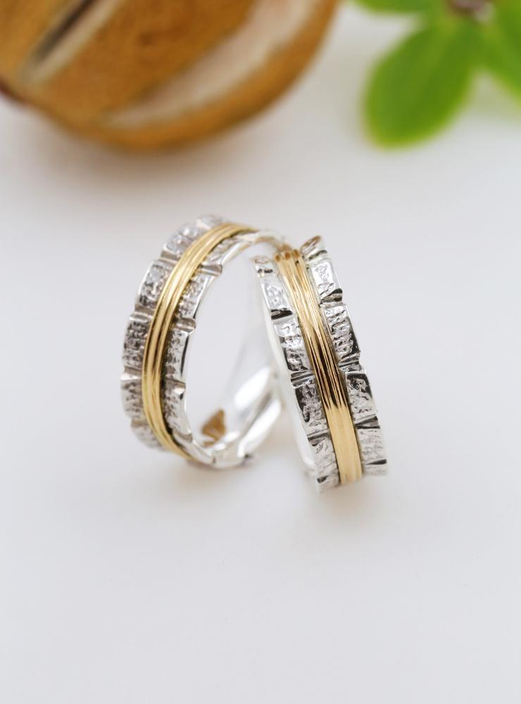 Bond: Ehering aus 925er Silber und 750er Gold