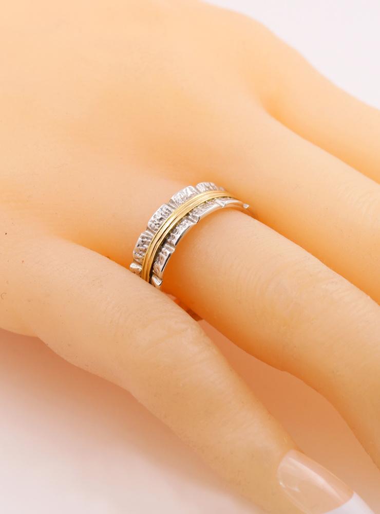 Bond: Ring aus 925er Silber und 750er Gold