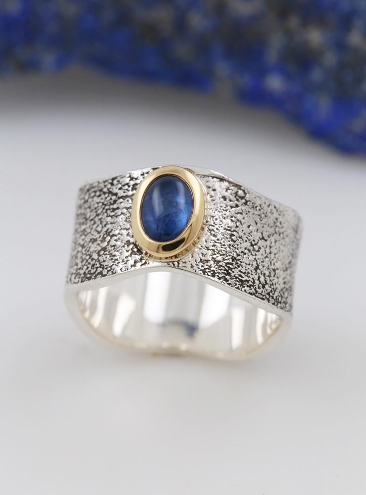 Giulia: Ring aus 925er Silber, 750er Gold und Saphir 1 ct.