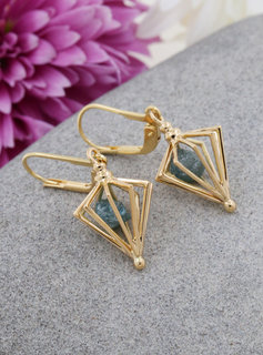 Ohrringe Phiole Gold blauer Rohdiamant
