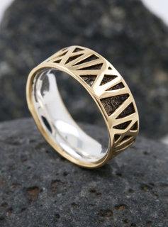 Ring Mikado Bicolor Silber Gelbgold