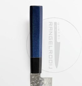 Takayuki 45 Damascus Indigo Blue Heft Santoku 180 mm