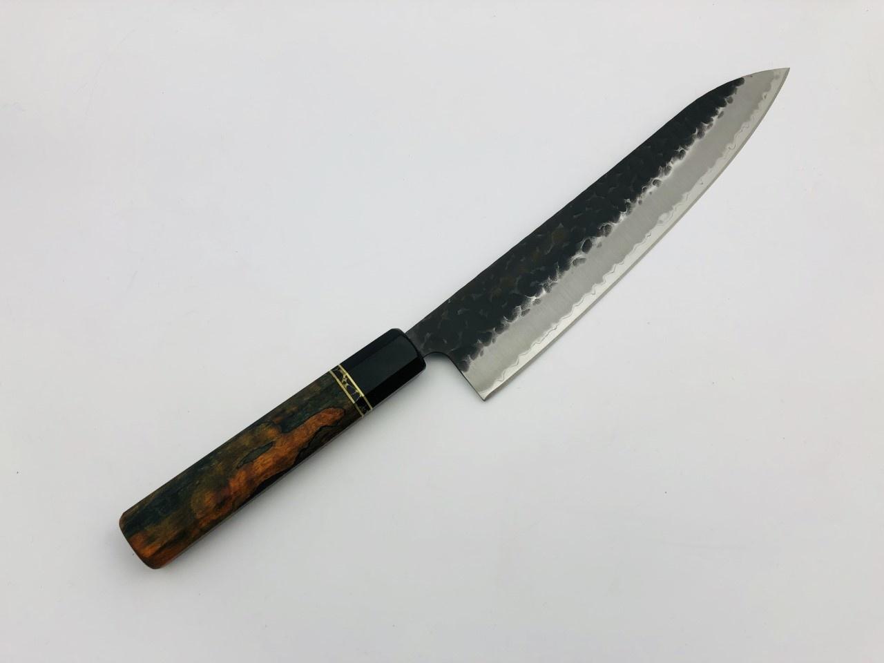 TAKAYUKI Custom Theodore 3 Layers Hammered Gyuto 240 mm AS+ stainless