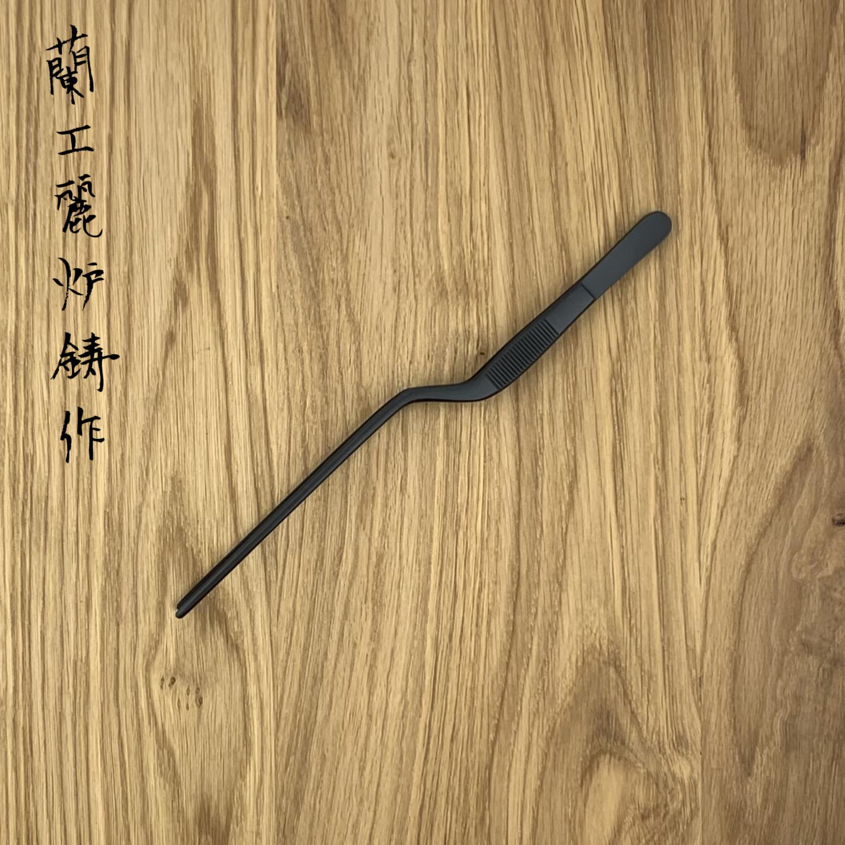 Dresseer pincet gebogen 20 cm mat zwart