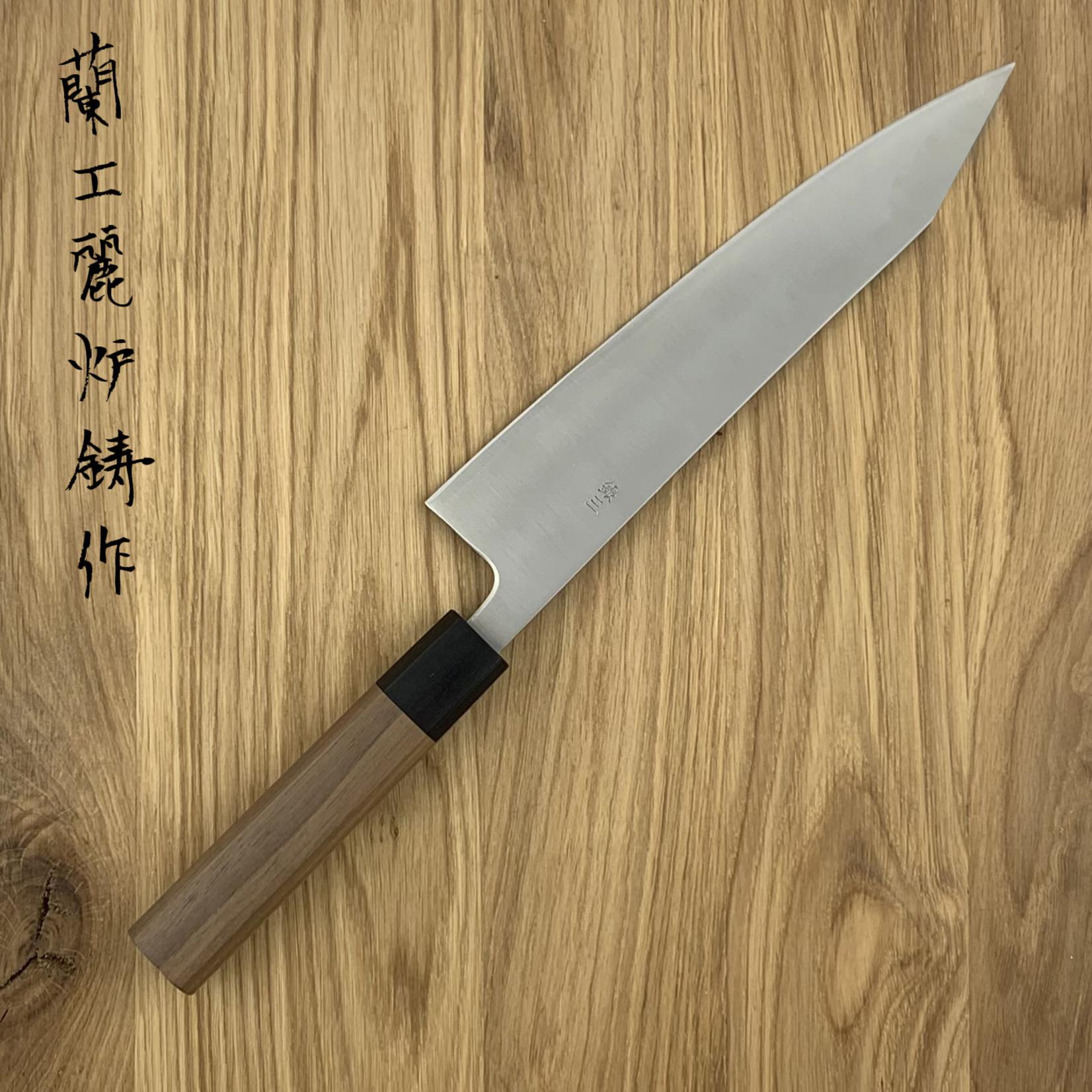 KIKUICHI Ginsan Sanmai Walnut Handle Kiritsuke Gyuto 210mm