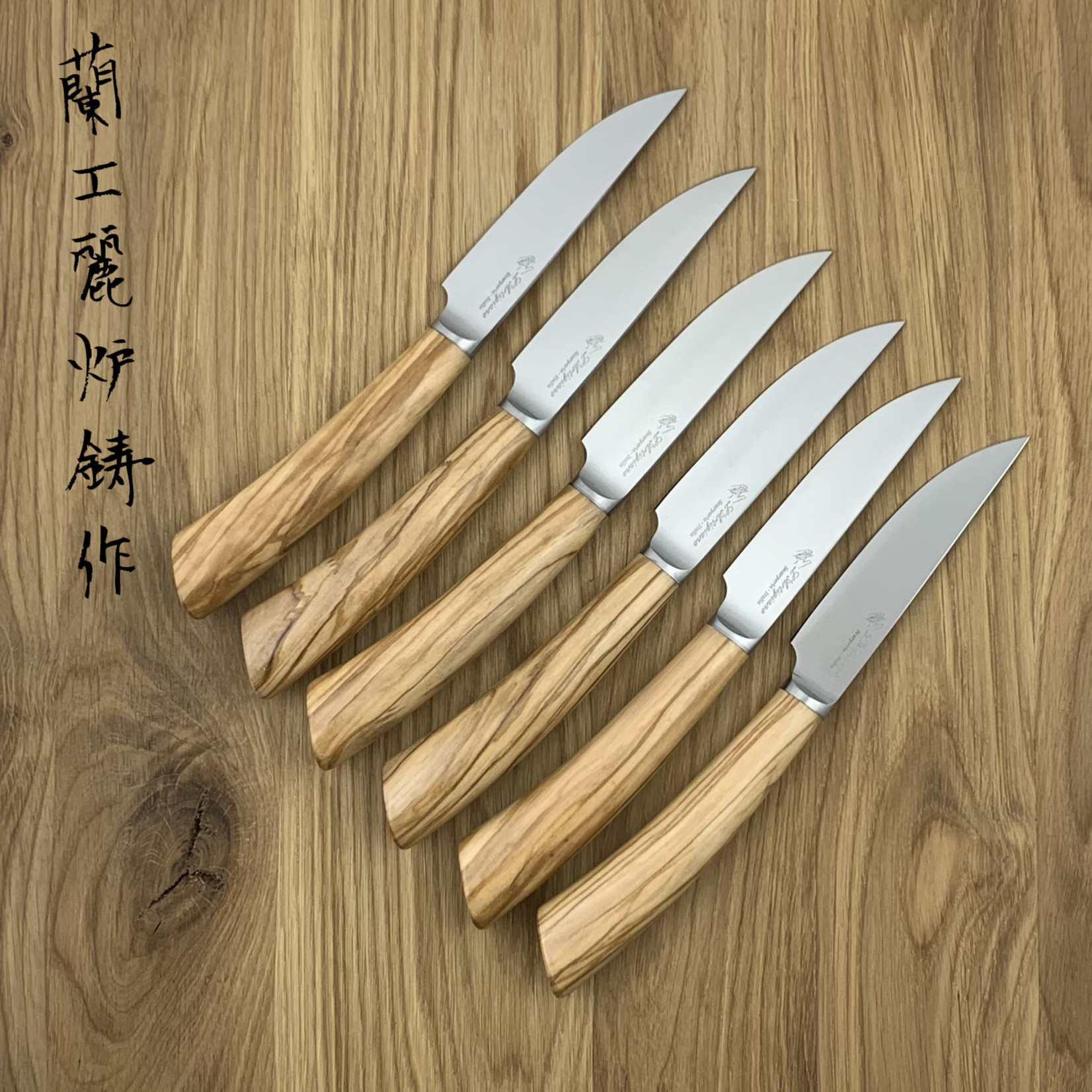 L'ARTIGIANO SCARPERIA Rustico steak knives set olive (6 items)