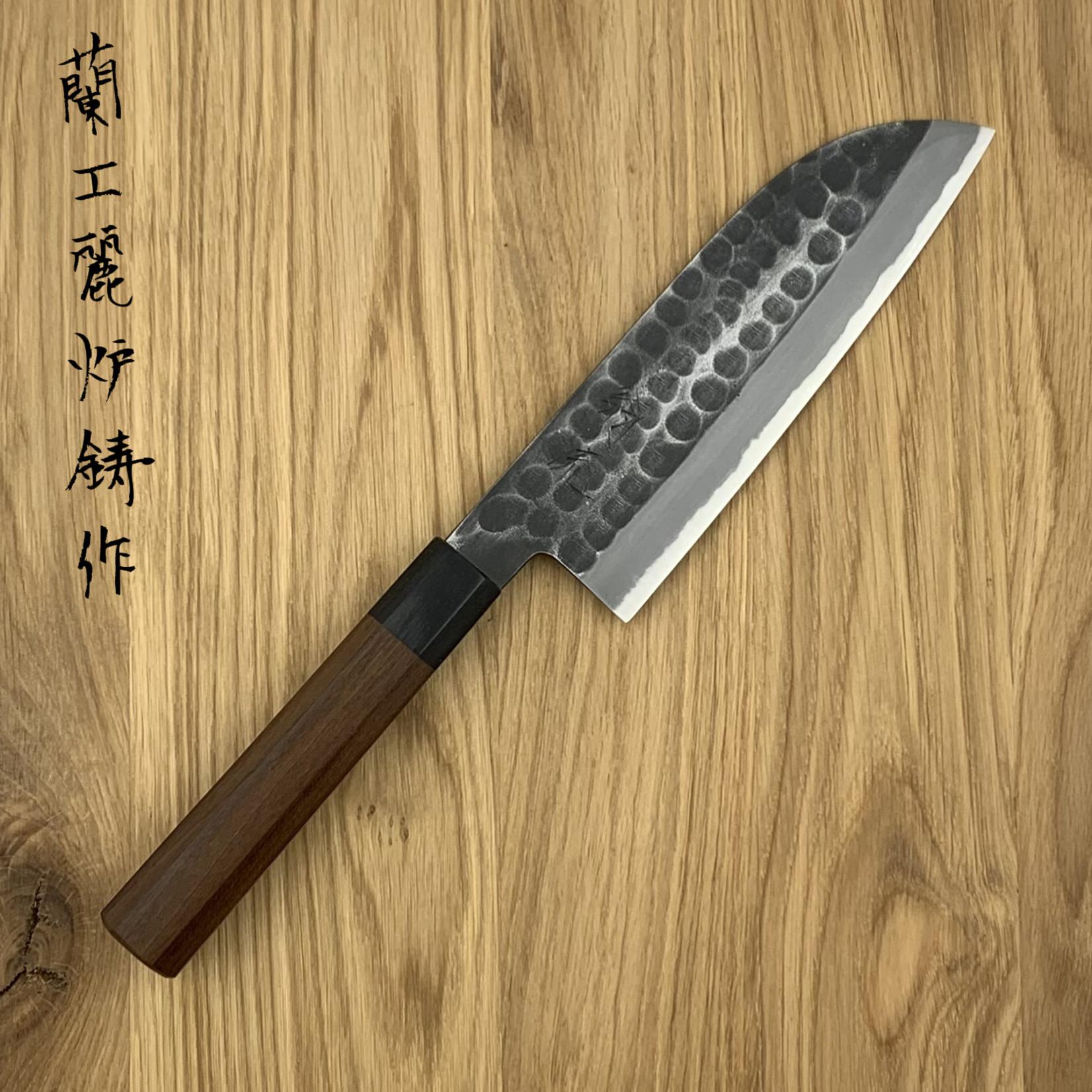 OUL Santoku 165 mm kurouichi tsuchime white #2 WA maple