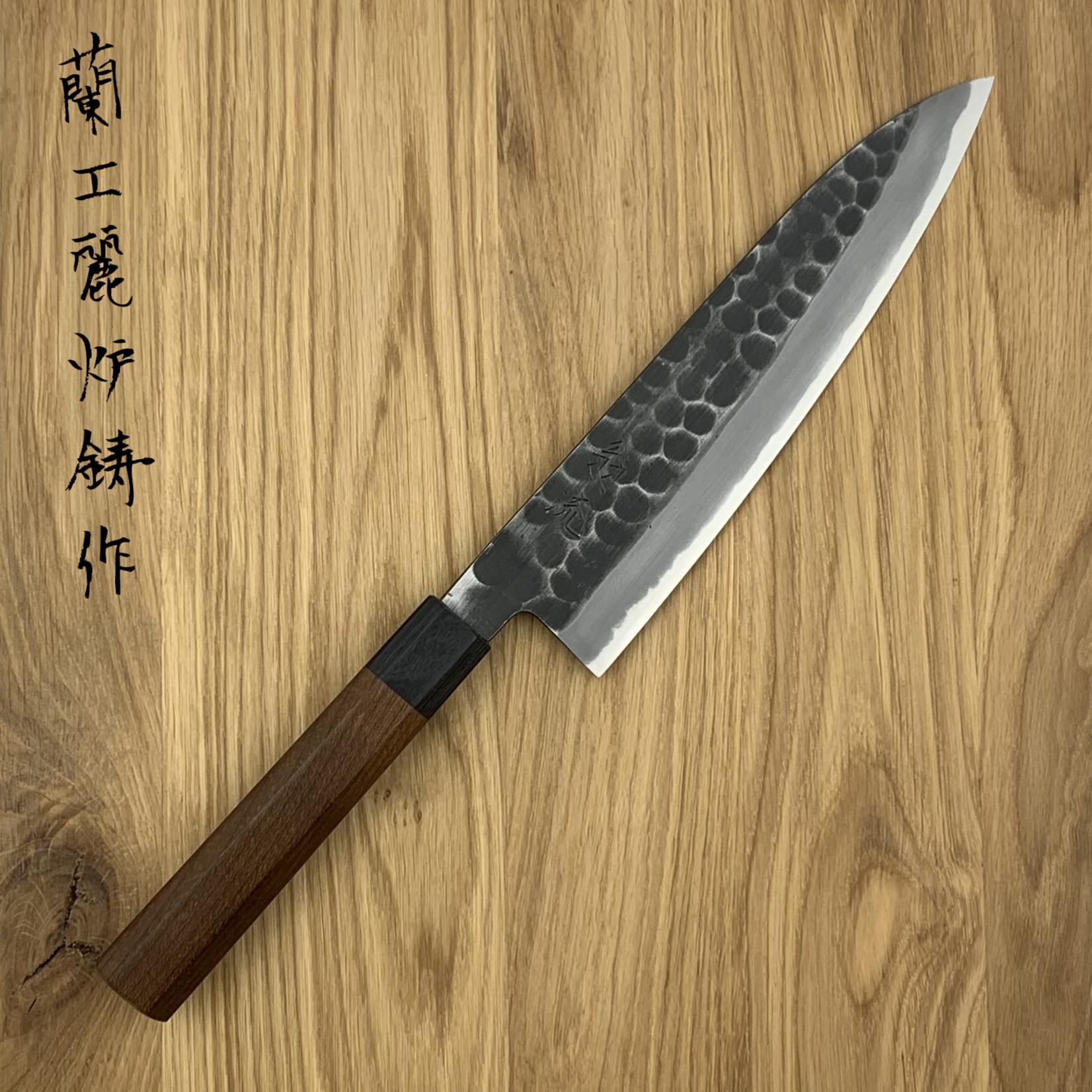 OUL Gyuto 210 mm kurouichi tsuchime white #2 WA maple