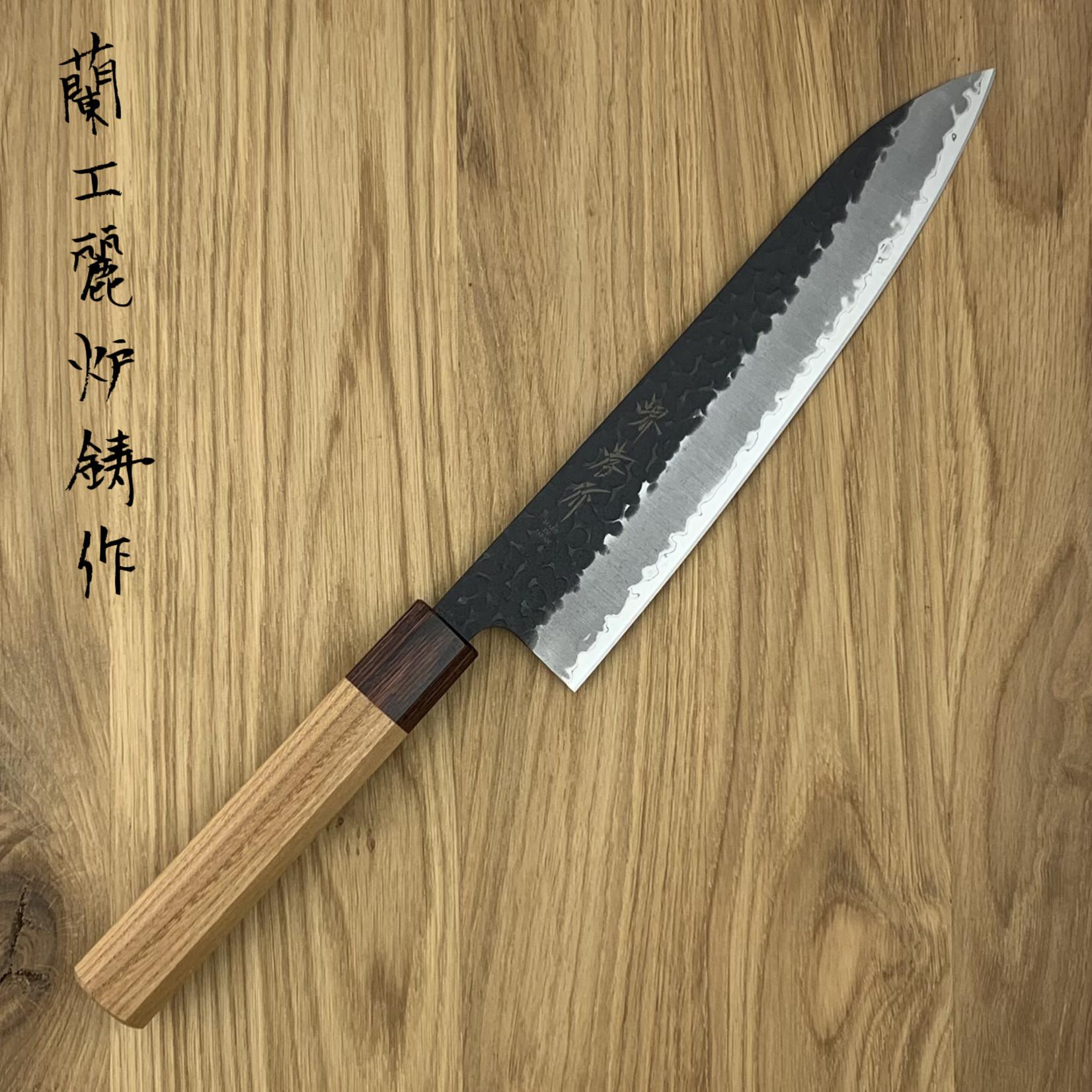 SAKAI TAKAYUKI Gyuto 210 mm 3 layers hammered AS+ Zelkova 01193