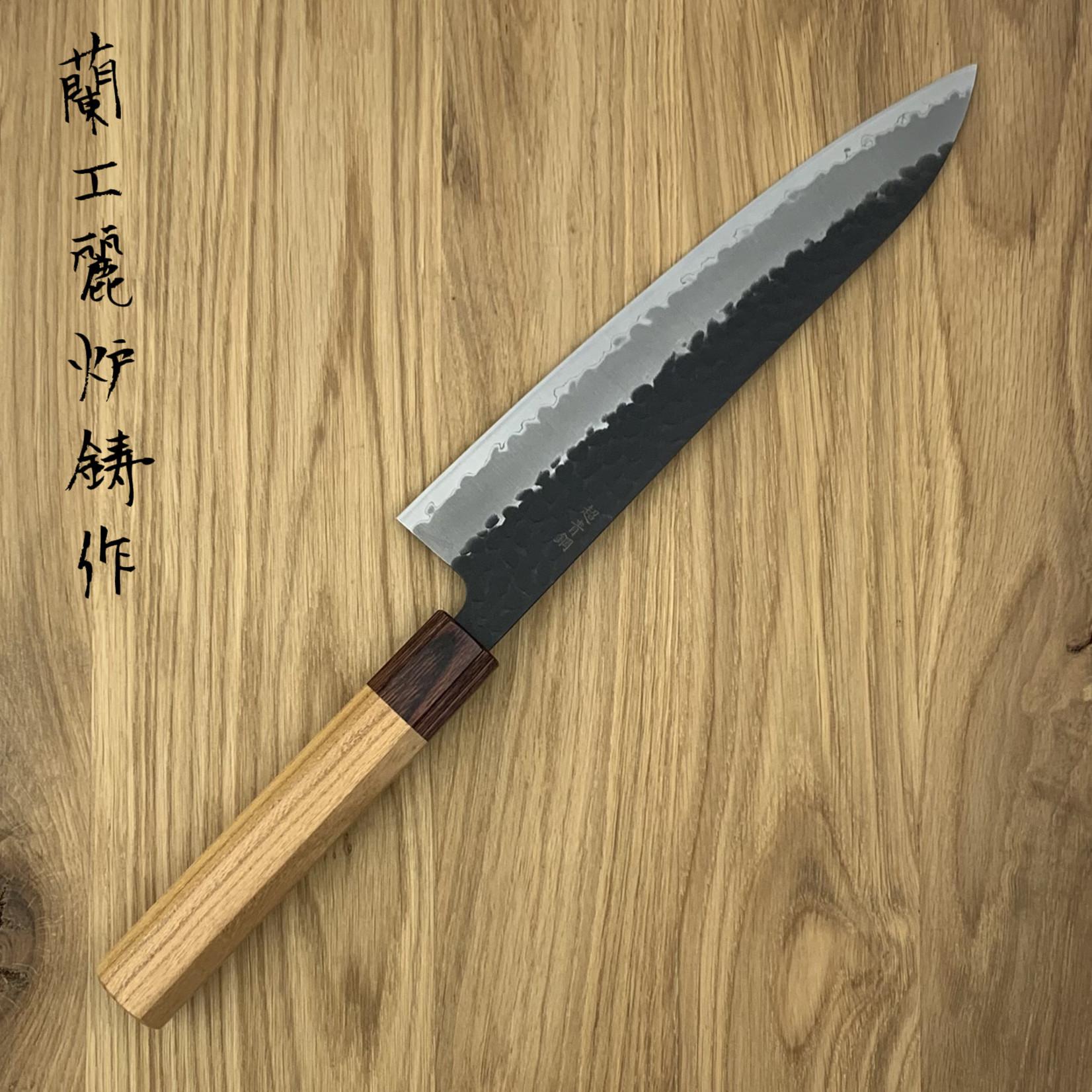SAKAI TAKAYUKI Gyuto 240 mm 3 layers hammered AS+ Zelkova 01194