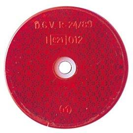 Rückstrahler, rot, D. 60 mm, mit Loch, E-gepr.