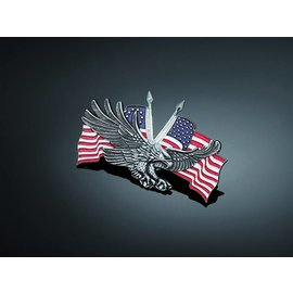 HIGHWAY HAWK Aufkleber Falke/USA Doppel-Flagge, Gr. L, 70 x 110 mm