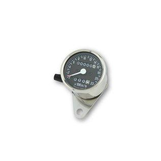 Edelstahl-Tacho, 1400 RPM, d 60 mm, Ziffernblatt schwarz, weisse Beleuchtung