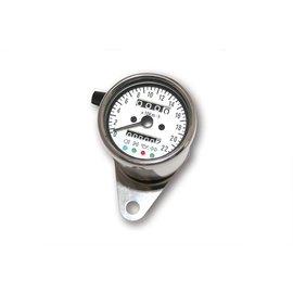 Edelstahl-Tacho, 1400 RPM, d 60 mm, Ziffernblatt weiss, weiss illuminierend