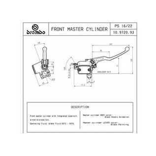 Brembo Brembo Handbremszylinder PS16 silber für 22 mm Lenker