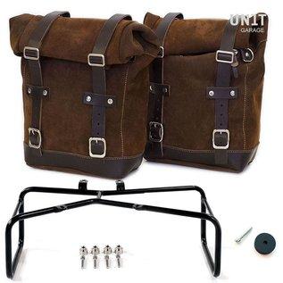 Unitgarage Zwei Seitentaschen aus Leder mit Befestigungsrahmen für BMW R nineT