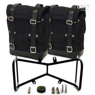 Unitgarage Zwei Seitentaschen aus Leder und symmetrischer Halterahmen für BMW R nineT