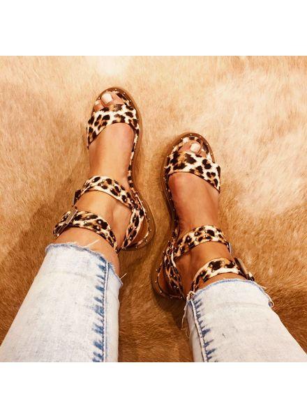 Leopard Sandal - Brown