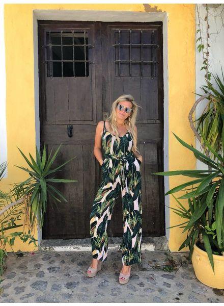 Ibiza Leaves Jumpsuit - Light Pink/Green