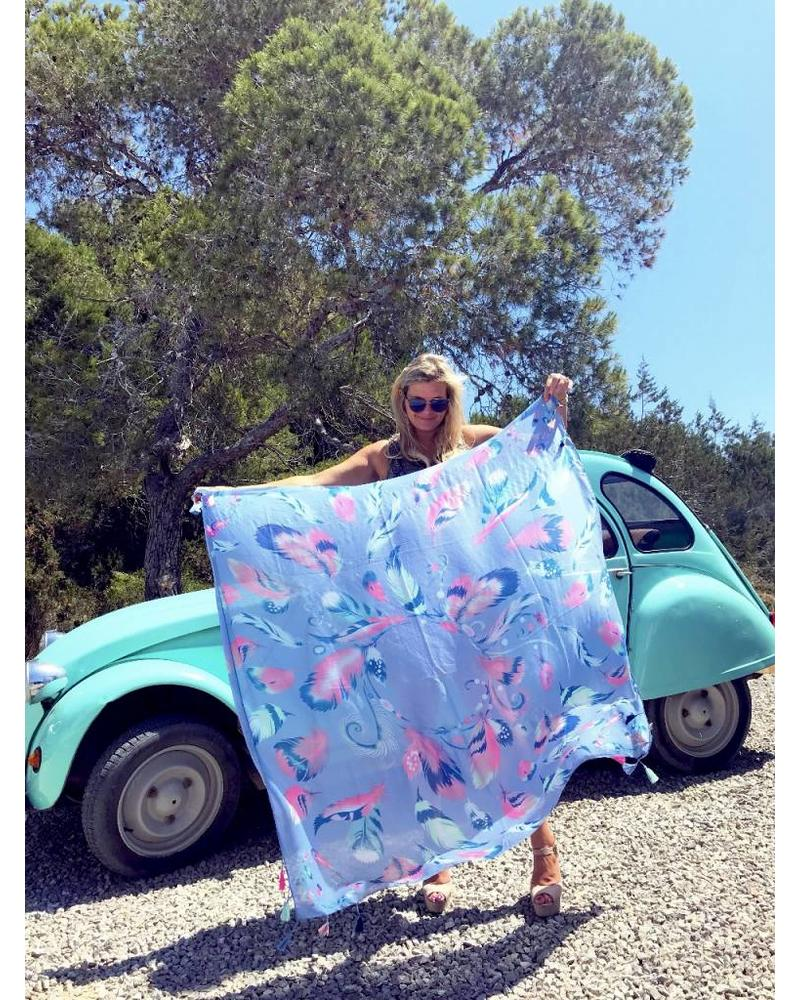 Fabulous Feather Scarf - Blue