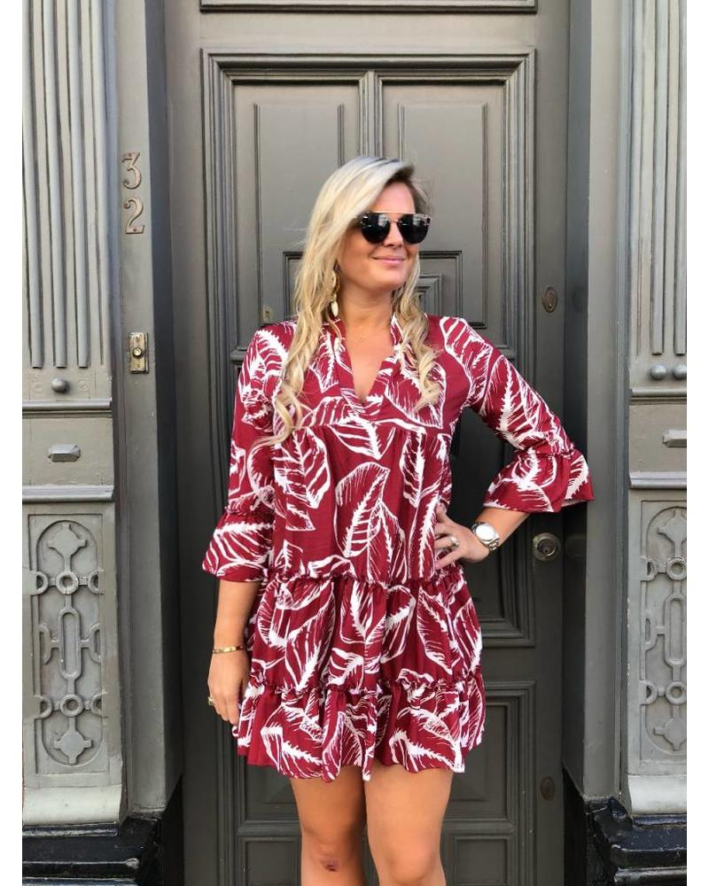 Feather Aztec Dress - Red