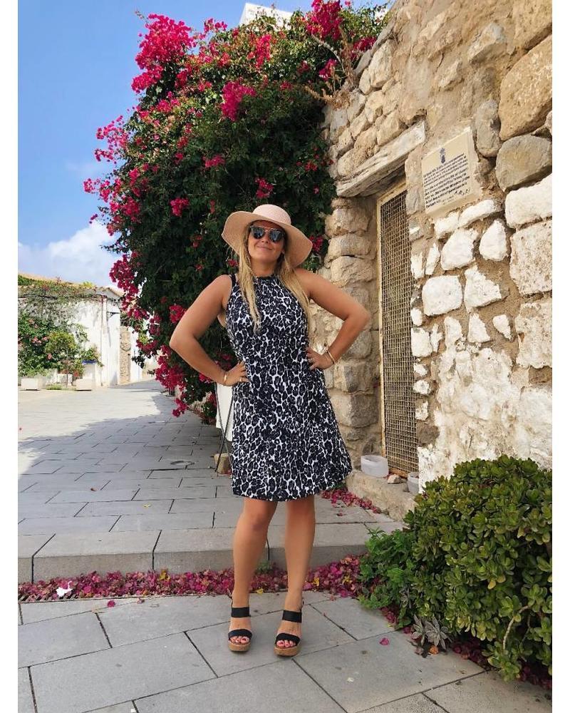 Ibiza Leopard Dress - Black White