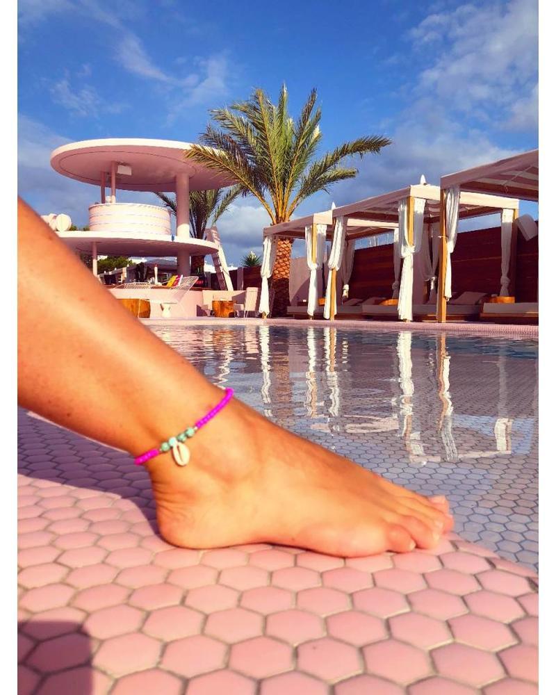 Ibiza Ankle Bracelet - Fuchsia Turquoise
