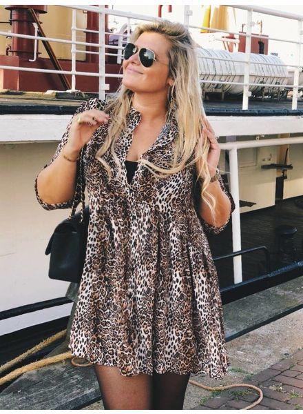 Stylish Button Leopard Dress