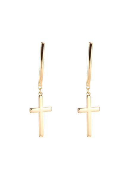 Dangle Cross Earrings - Gold