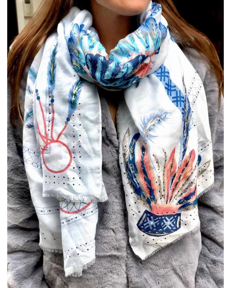 Paradise Peacock Scarf - Blue