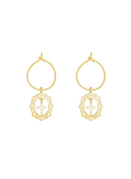 Antique Cross Earring - Gold