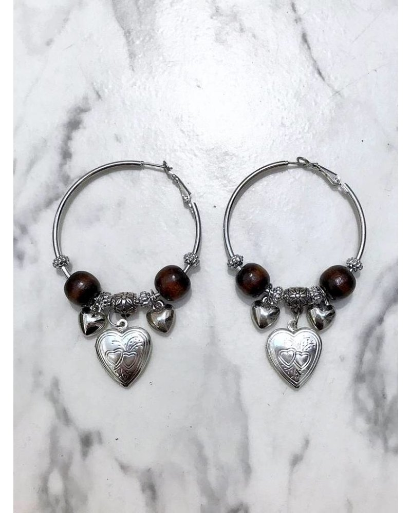 Heart Medallion Earrings - Silver/Brown