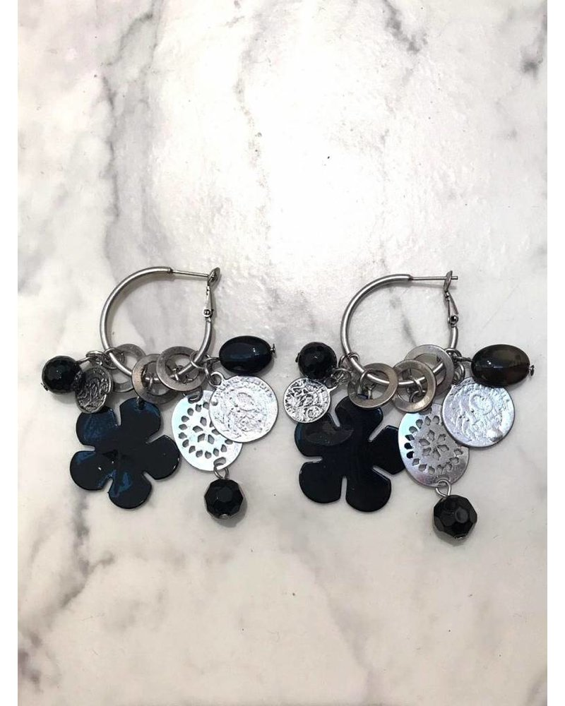 Black Flower Earrings - Silver/Black