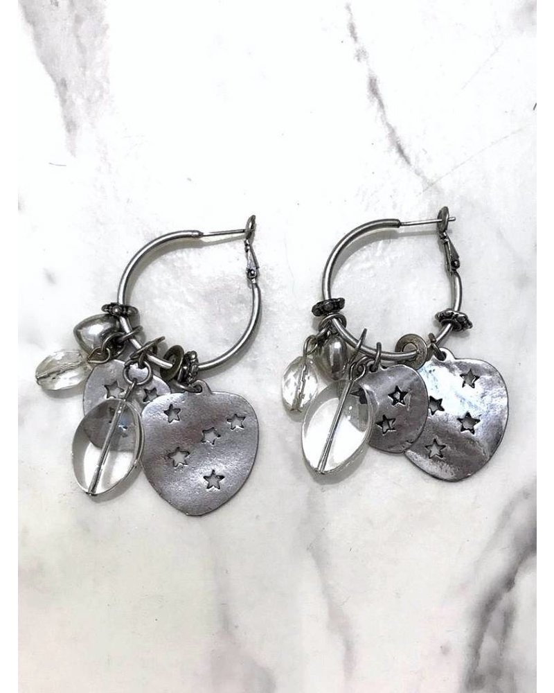 Star Heart and Translucent Stone Earrings - Silver