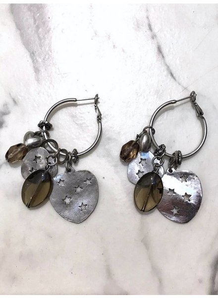 Star Heart & Brown Stones Earrings - Silver