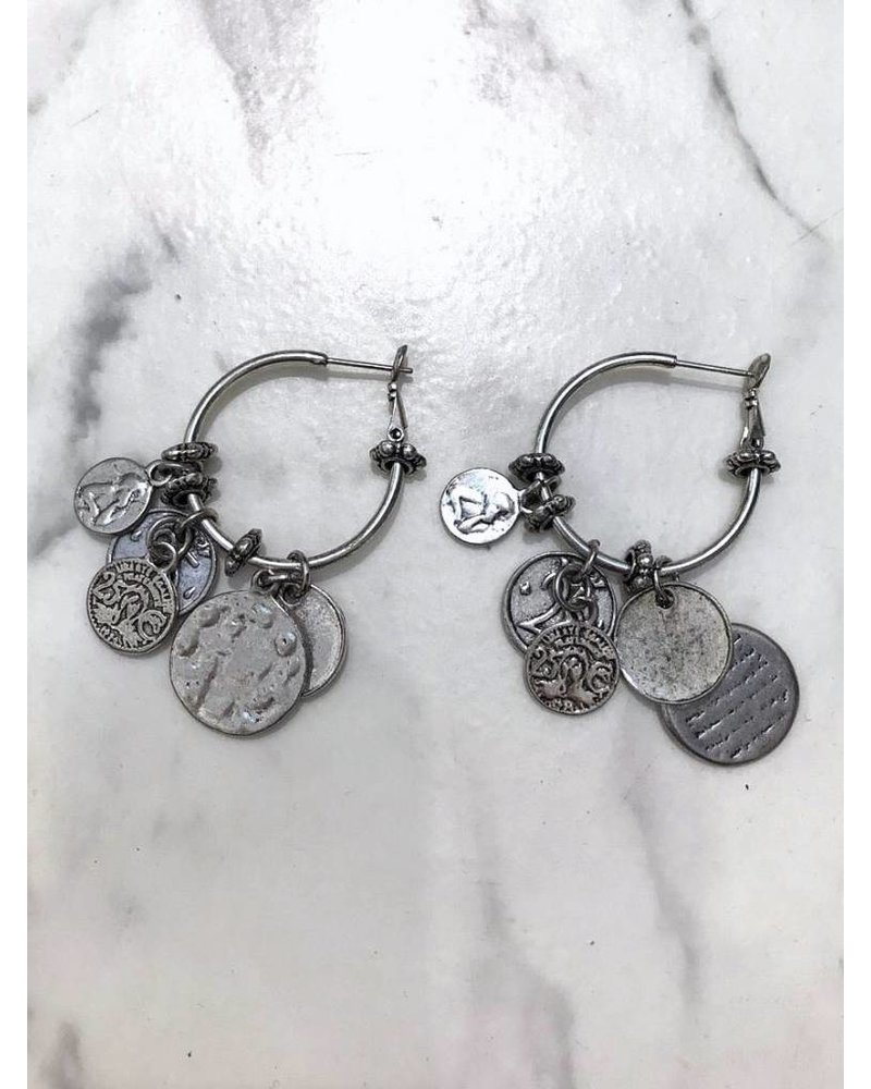 Multiple Coins Earrings - Silver