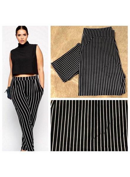 Plus Size- Striped Pants - Plus Size